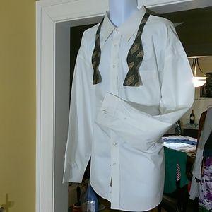 Gold ladel mens white dress shirt